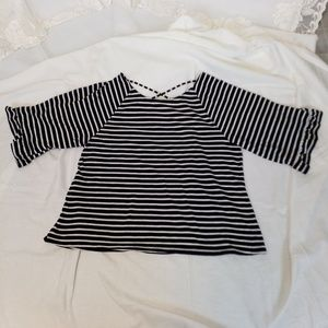 SALE ana black and white striped pullover top XL